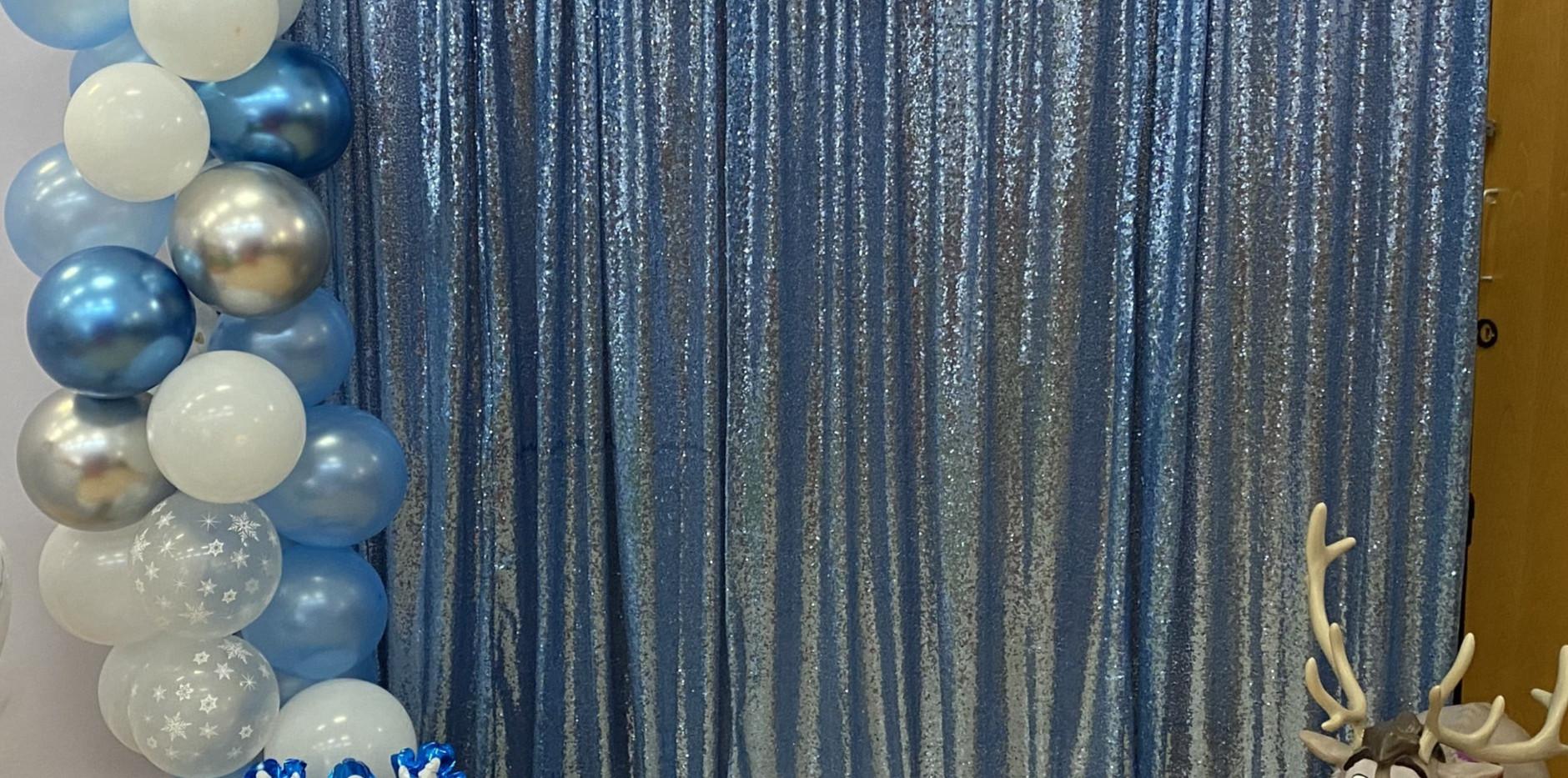 Blue Sequin Curtain Backdrop