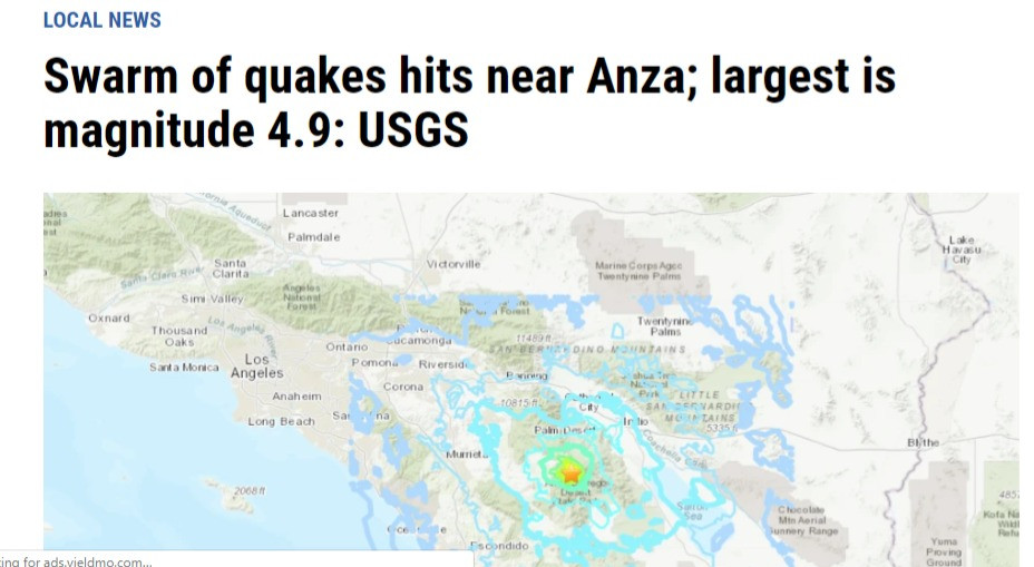 Earthquake in Anza, CA in April 2020