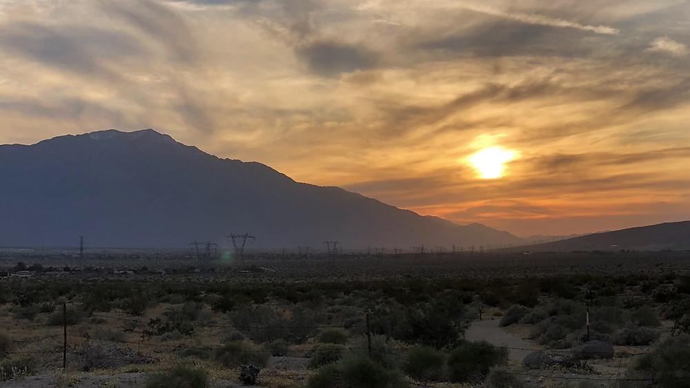 Sunset over the San Gorgonio Pass and San Jacinto