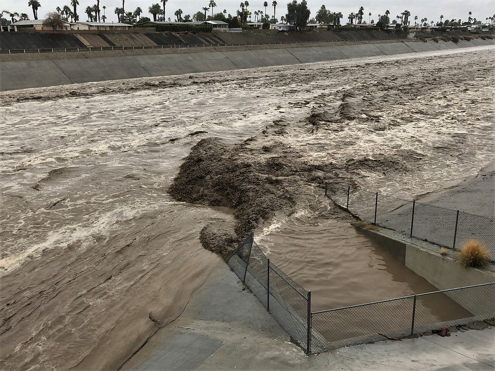 Flooding of Portola Ave stormwater wash in Palm Desert during the February 13, 2019