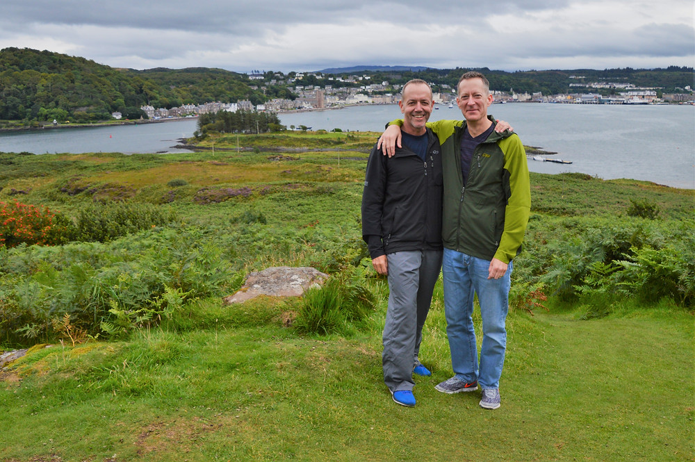 Overlooking the harbor from the Hutcheson Memorial on Isle of Kerrera in Scotland