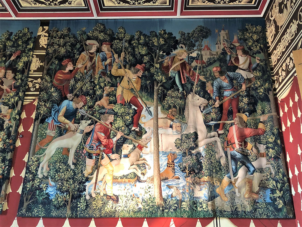 Four recreations of The Hunt of the Unicorn tapestries, created by the Tapestry Studio at West Dean College, now hang in the restored Queen's Presence Chamber in Stirling Castle