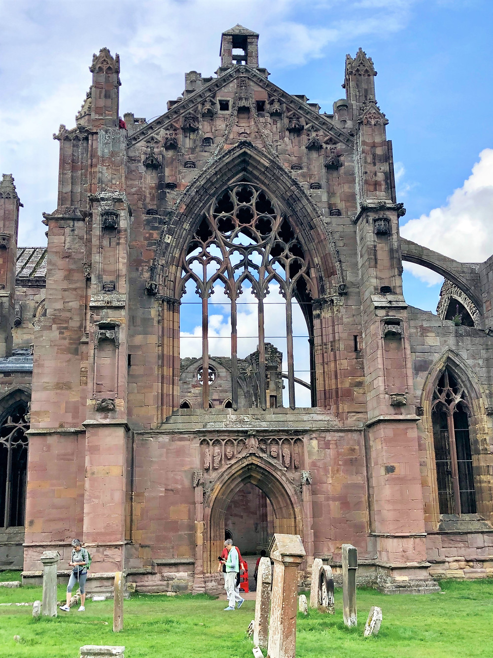 South entrance of Melrose Abbey in the Border Region of Southern Scotland. Border abbey.