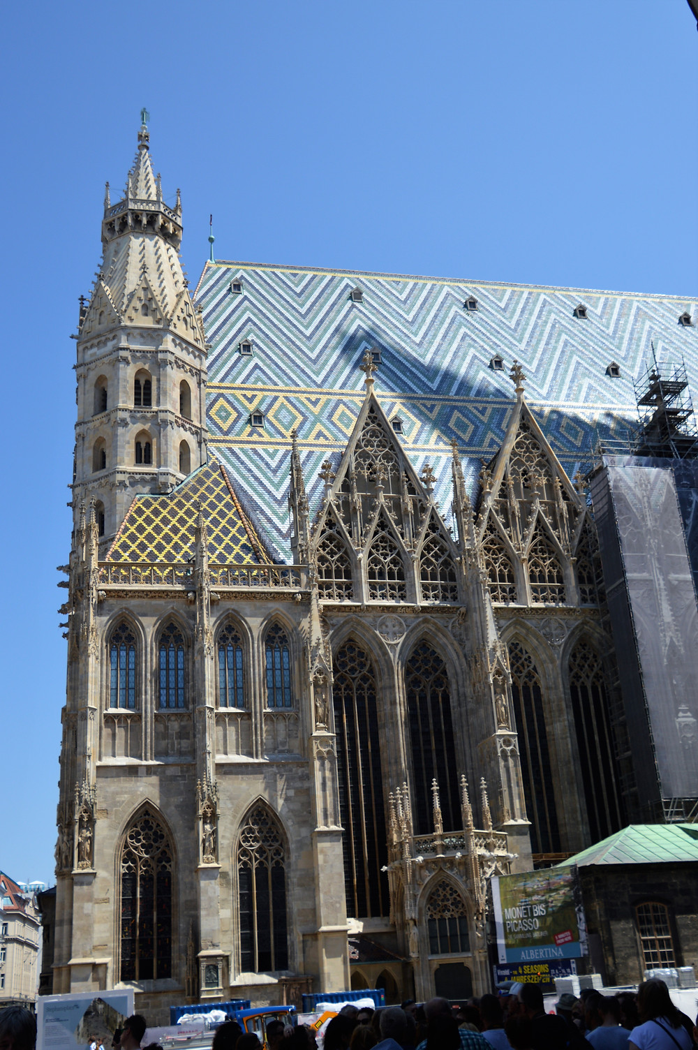 Beautiful colored roof tiles of St Stephen's Cathedral in Venna
