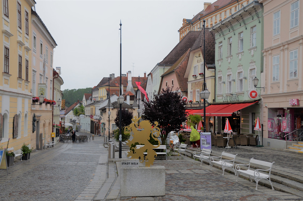 Plaza and shops in the Village of Melk in Austria