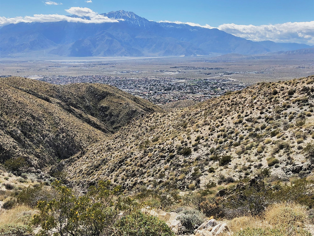 Snowy San Jacinto summit and mountains from Swiss Canyon vista in the Little San Bernardino Mountains