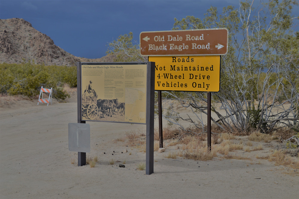 Road signs at start of Black Eagle Mine Rd Trail Joshua Tree National Park