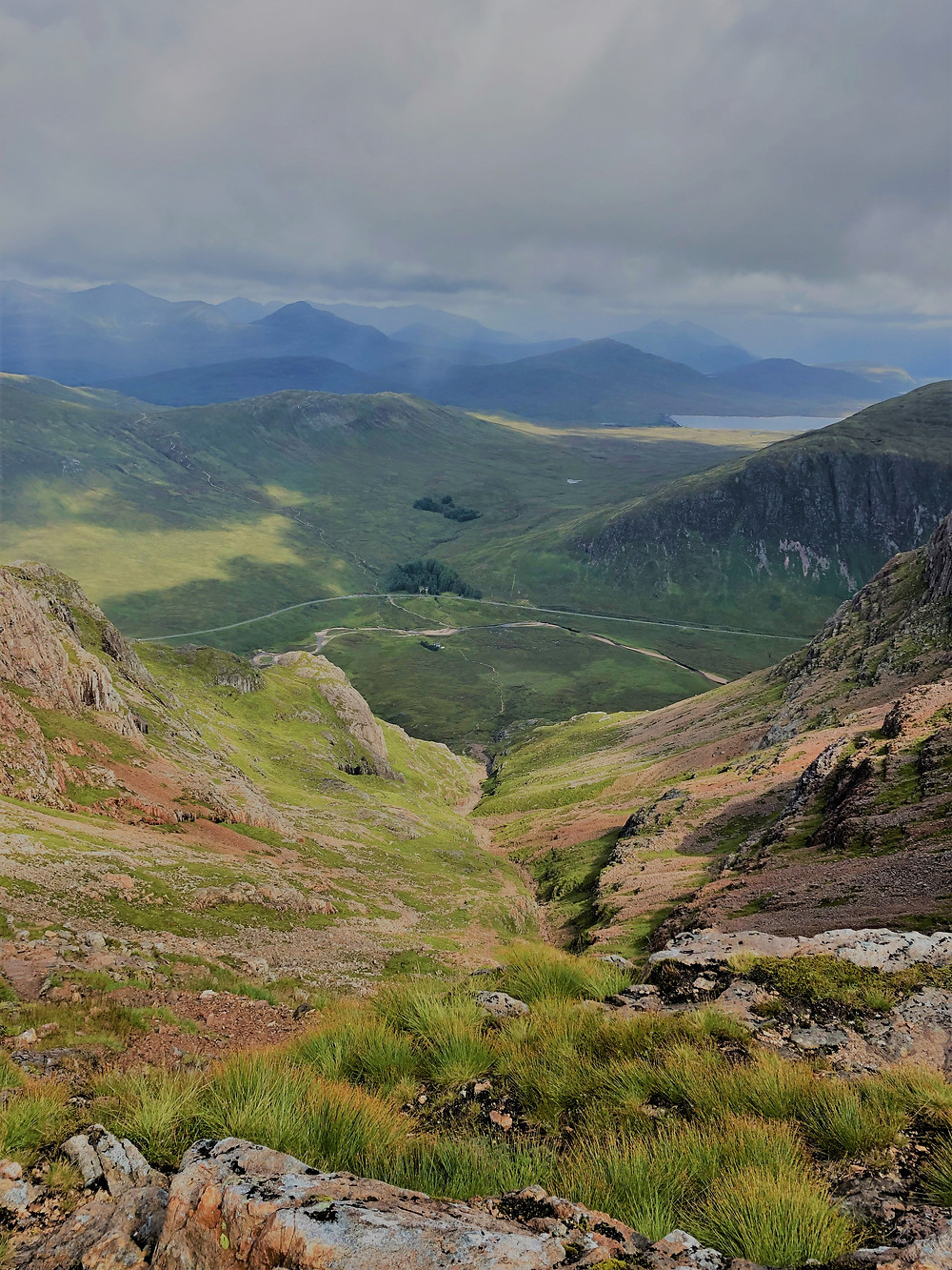 View looking down Coire na Tuliach on the hike of Buachaille Etive Mòr in the Scottish Highlands