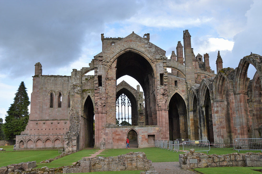 Massive Melrose Abbey in the Border Region of Southern Scotland