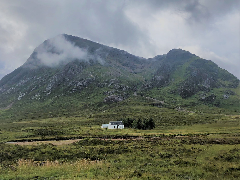 Start of the hike at the base of Buachaille Etive Mòr known as Stob Dearg in Scottish Highlands