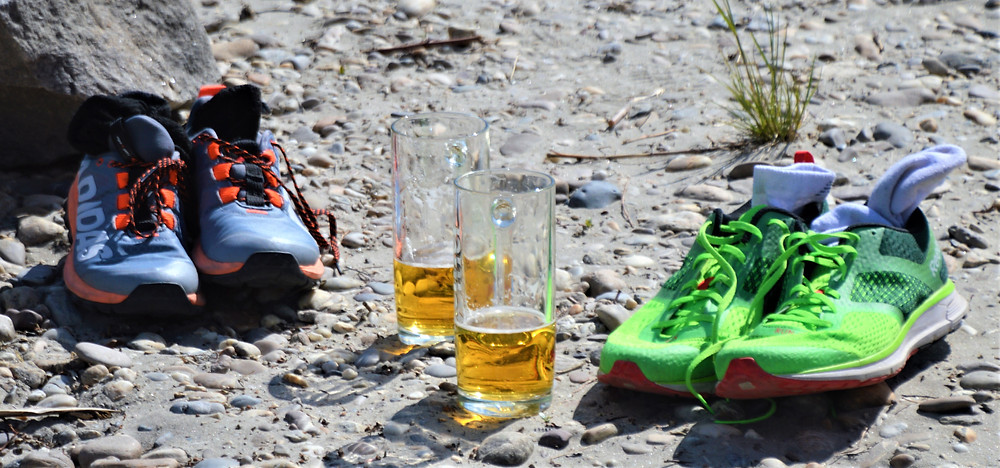 Beers at a beach along the Danube River in the Wachau Valley of Austria