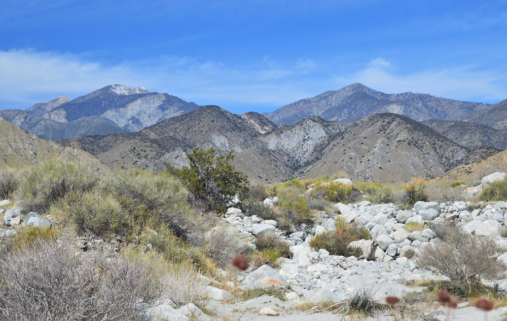 San Bernardino Mountains from Red Dome trail in the Whitewater Preserve