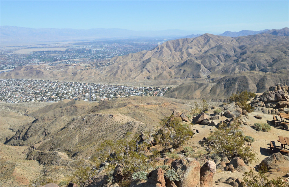 Cathedral City from the summit of Murray Hill in the Santa Rosa Mountains