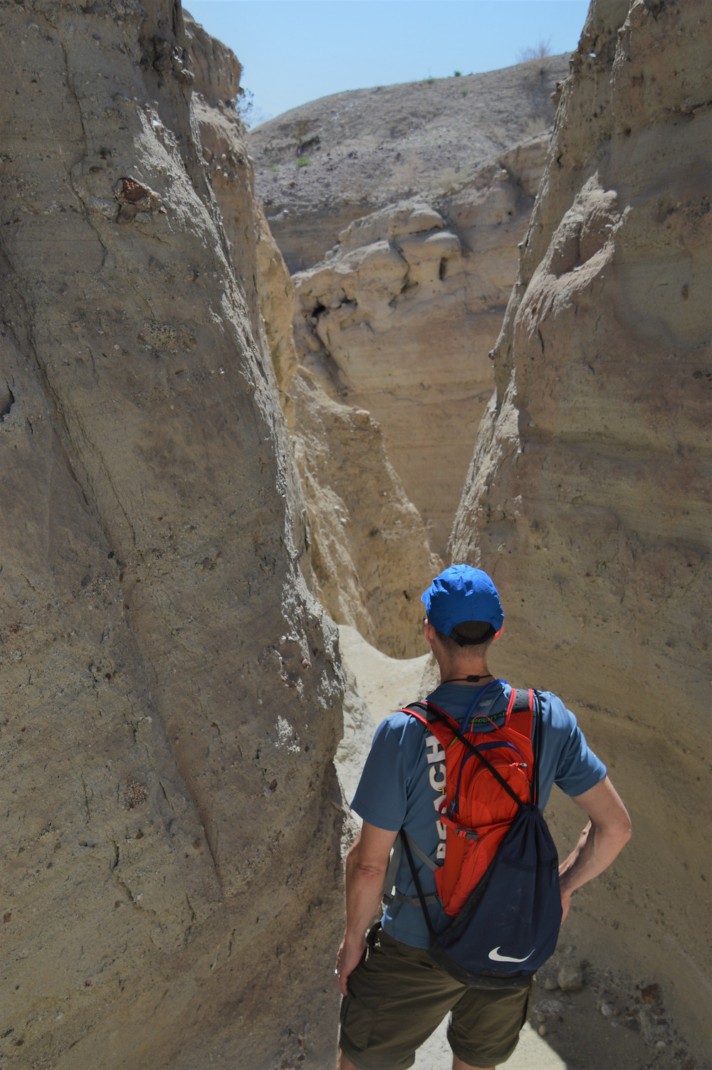 Smooth walls eroded by water in slot canyons along the Calcite Mine Loop at Anza-Borrego State Park