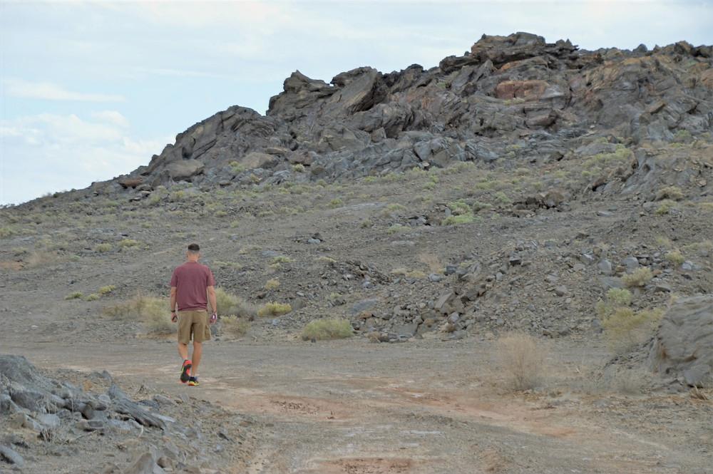 Walking the Obsidian Butte trail on Salton Sea shore in California