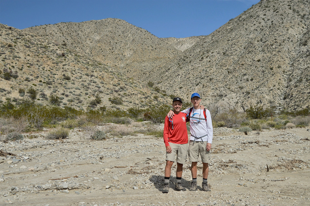 Hiking in the wash of the Big Morongo Canyon Trail in the Little San Bernardino Mountains in Morongo Valley