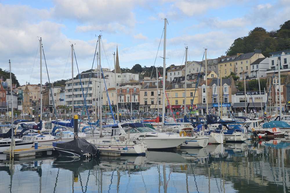 Torquay harbor and boat dock in England