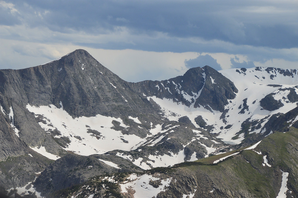 Trail Ridge Road views are not considered complete without a view of Mount Julian (left) and Cracktop Mountain