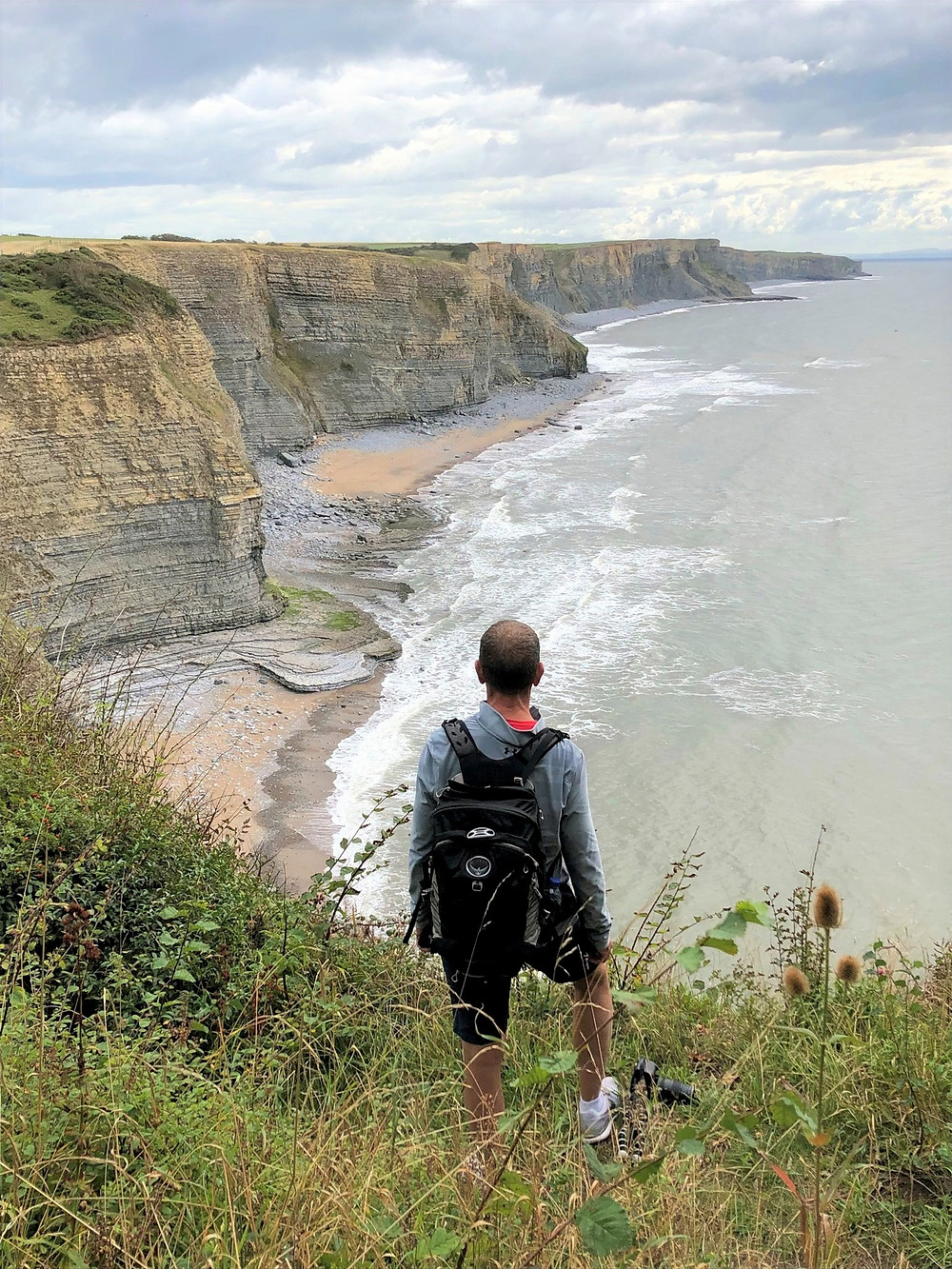 Overlooking the coastline referred to as 'Whitmore Stairs' where the cliffs are over 200 ft high along the Glamorgan Heritage Coastal Trail