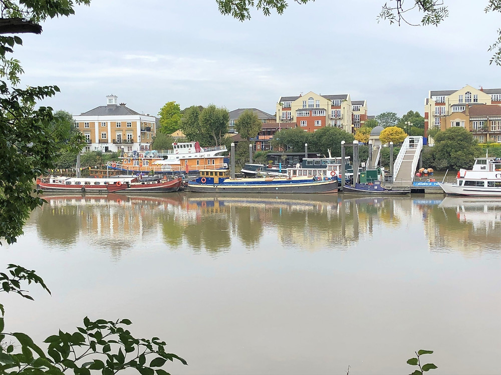 Boats along the Thames in Hammersmith Neighborhood of London