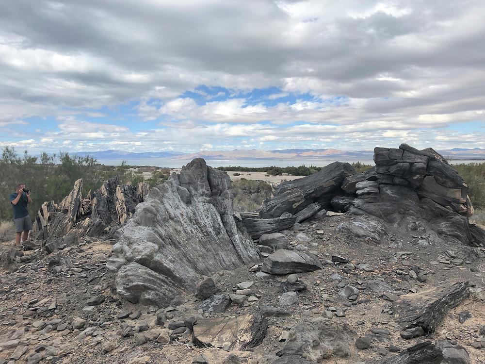 Obsidian flow around the butte in Salton Sea area