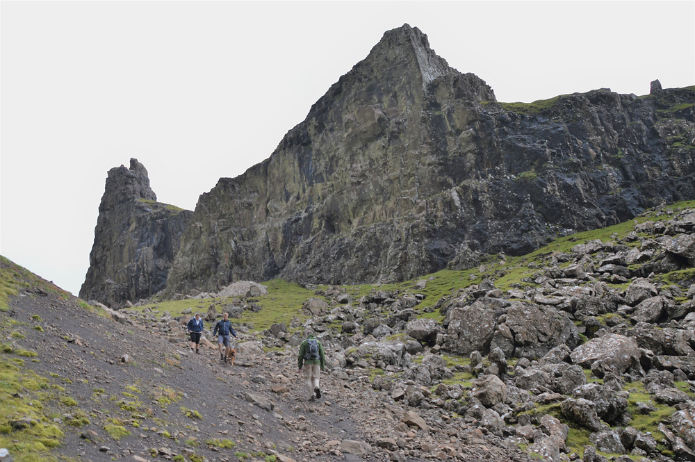 The outcropping referred to as the Prison is located on the Quiraing trail on the Isle of Skye
