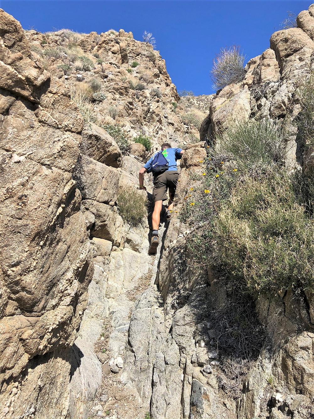 Scrambling up rock face in Swiss Canyon in Little San Bernardino mountains