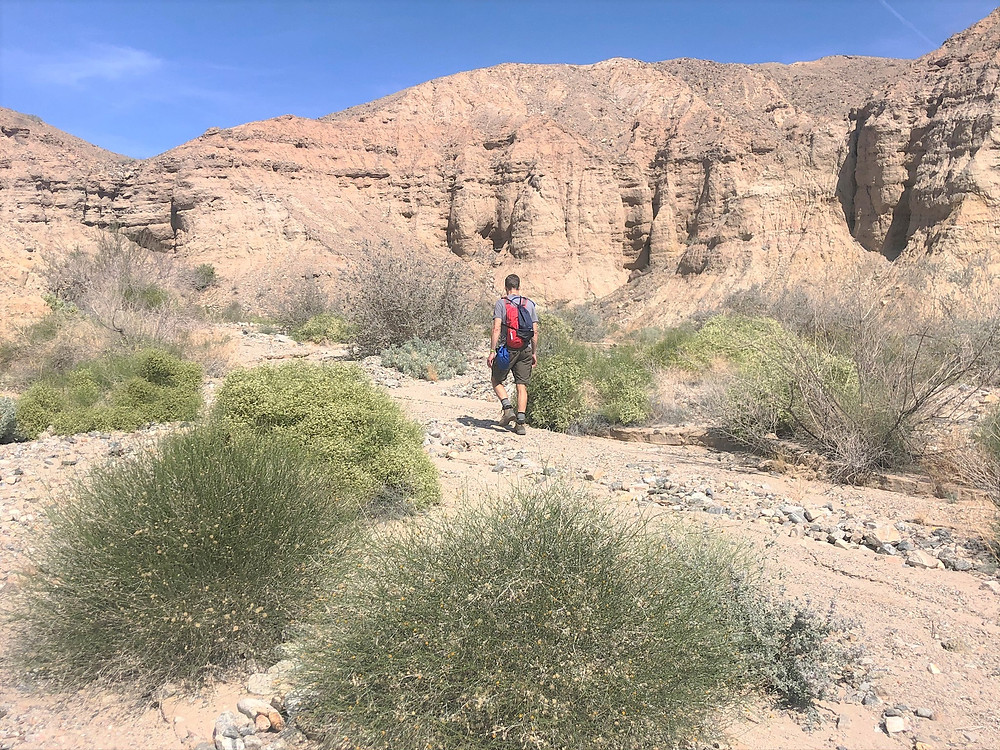 Hiking through wash in the Mecca Hills