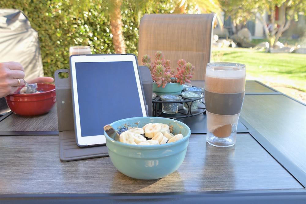 Breakfast on patio in Palm Desert