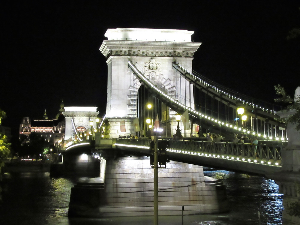 The Széchenyi Chain Bridge over the Danube River in Budapest at night