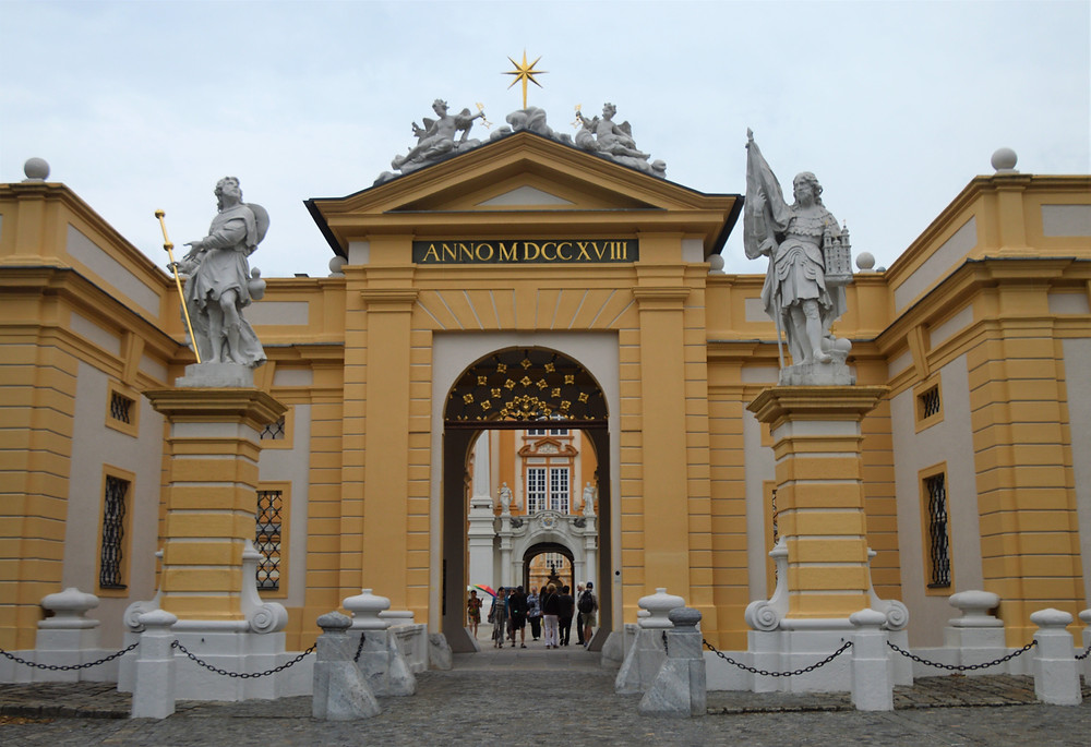 Golden painted walls of entrance to Melk Abbey in Austria