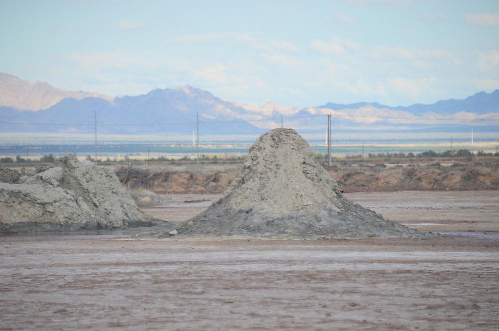 Mud domes are located near the Salton Buttes along Salton Sea shoreline