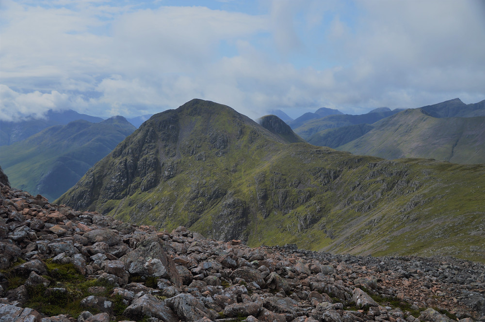 Hiking to Stob Na Doire along the ridge and then the slow steady ascent up the steep face.