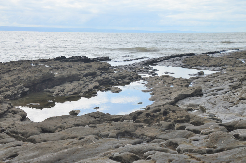 Eroded limestone at the water's edge along the Glamorgan Heritage Coastal Trail in Wales