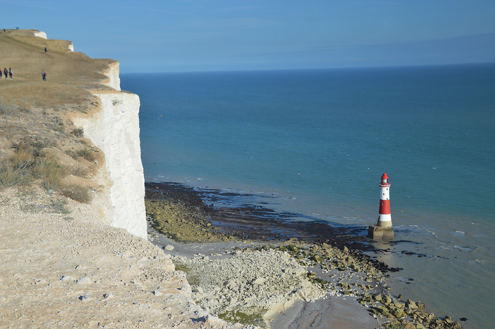 Beachy Head Lighthouse is located in the English Channel below Beachy Head. It stands 141 ft high