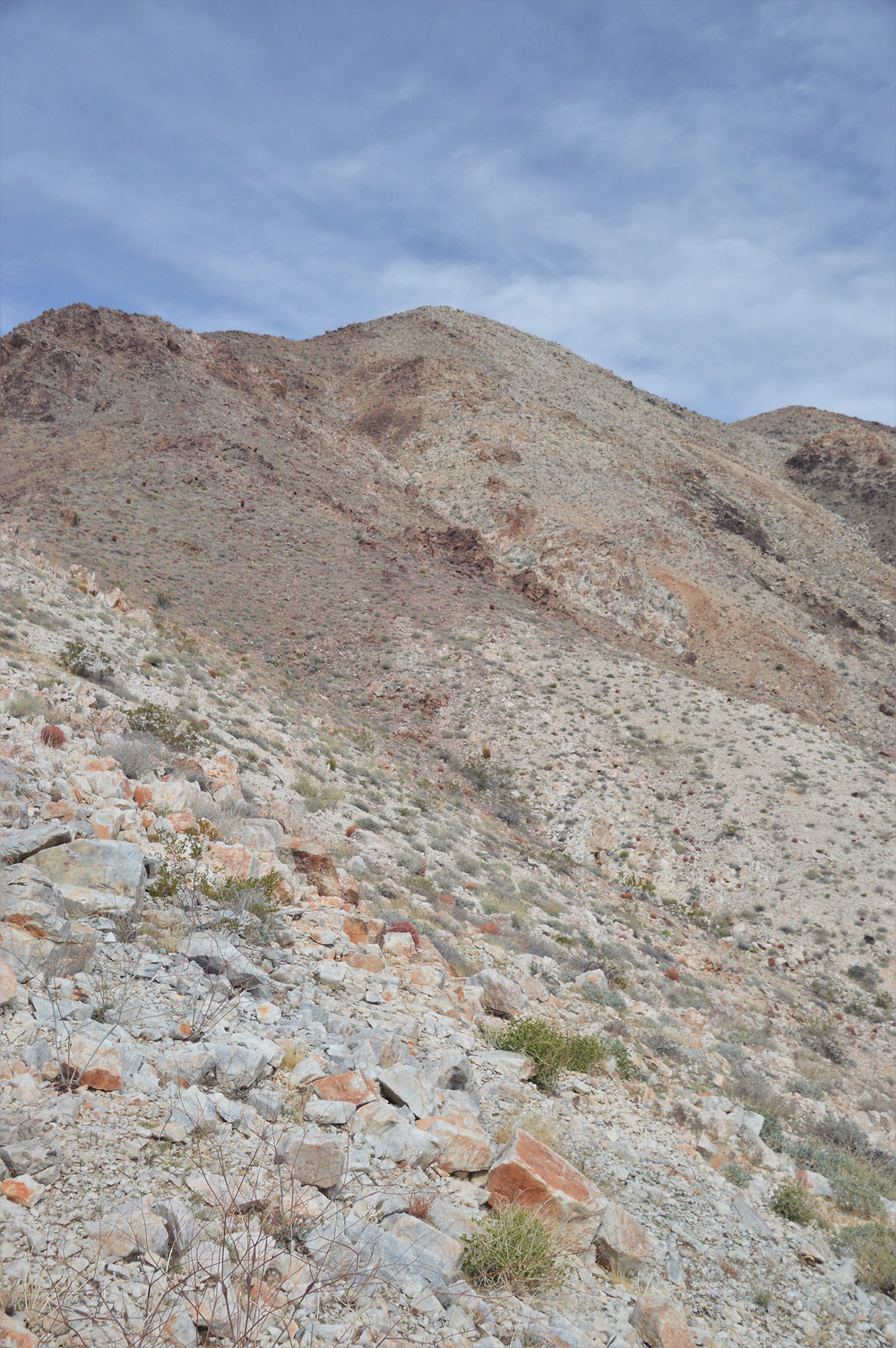 Scree covered path to Pinto Mountain summit in Joshua Tree National Park
