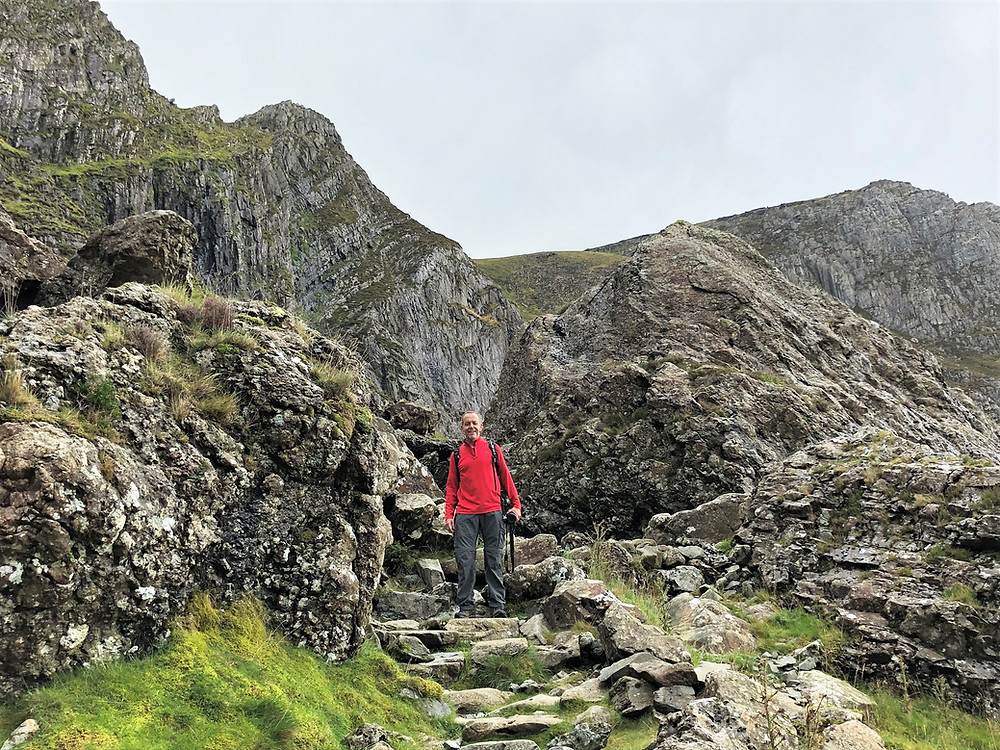 Climbing through the moraine on the path leading to Devil's Kitchen; some of the boulders that had looked so small from a distance were the size of a car