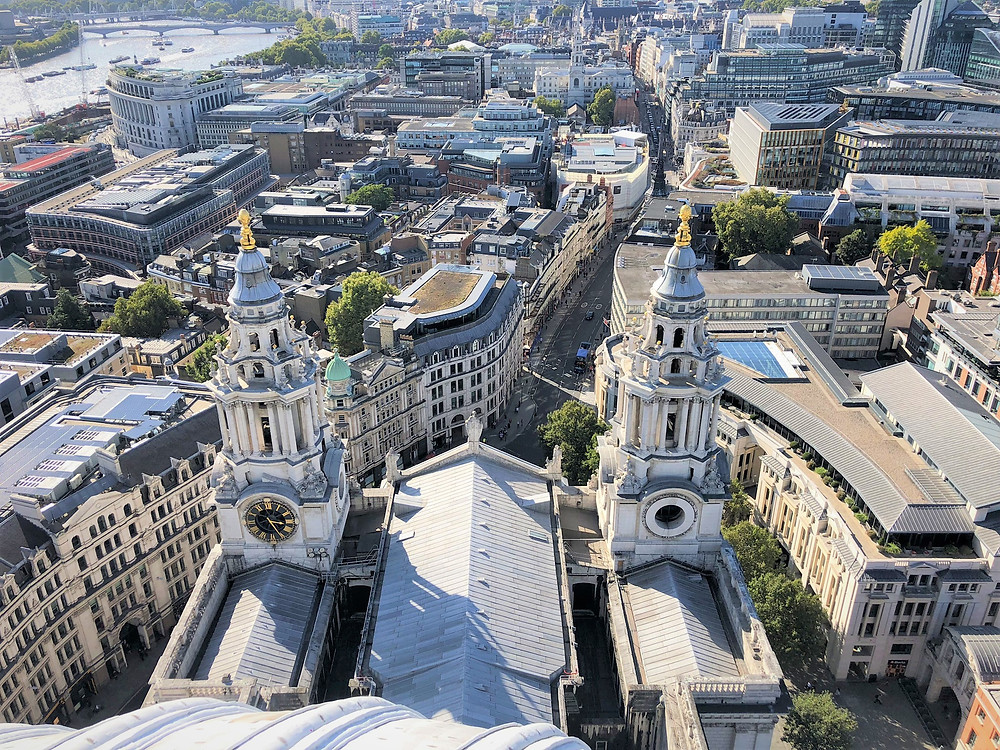 West Towers and Main entrance to St Paul's Cathedral London viewed from the Golden Gallery