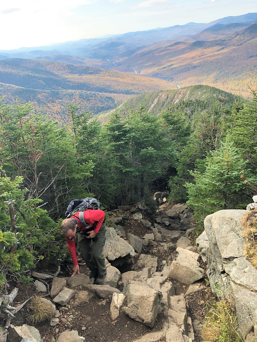 Eroded and rock covered trail in White Mountains of NH. Old Bridle Path to Mt Lafayette
