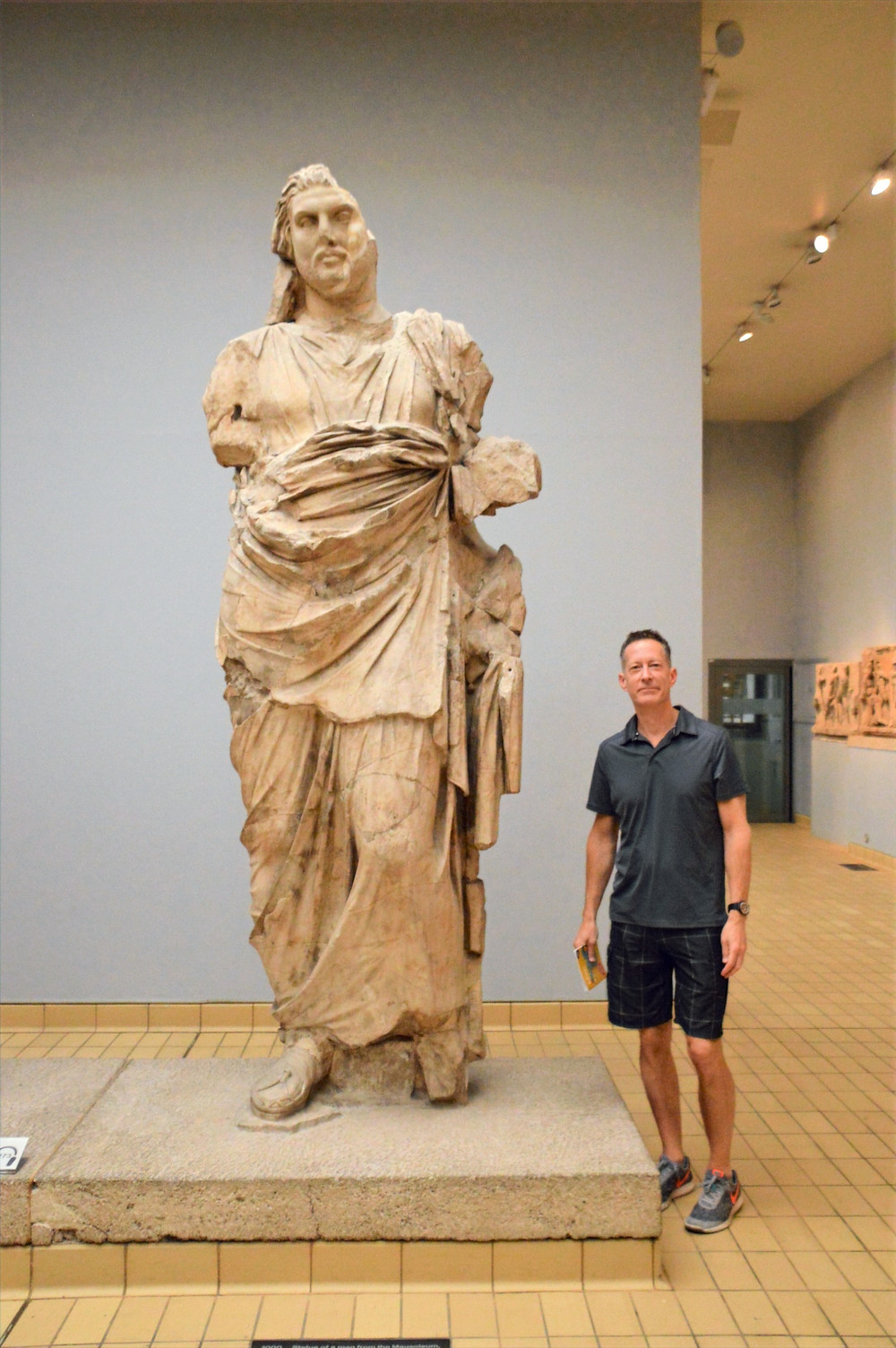 On diOn display in The British Museum a colossal statue of Mausolus, King of Caria (377–353 BC) located in present day Turkeys.  Mausoleum at Halicarnassus.