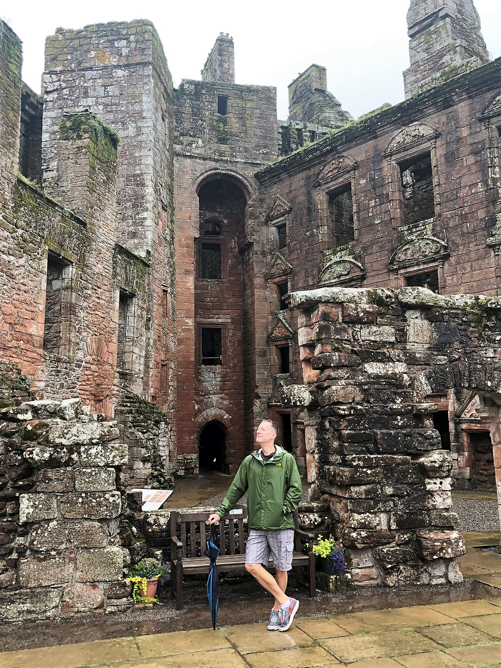 The Earl of Caerlaverock Castle surveys his vast land holding from the courtyard.