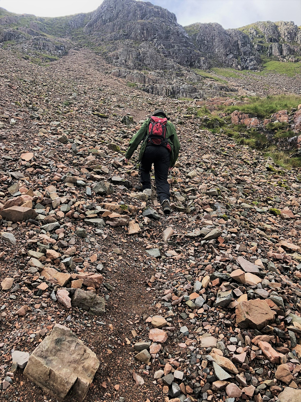 Toward the top of the Coire na Tuliach, the path weaved through a boulder field and into a scree chute