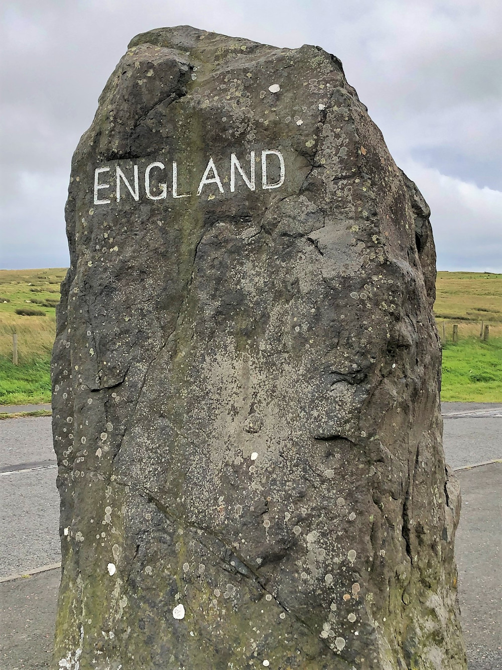 Stone marking the border between Scotland and England