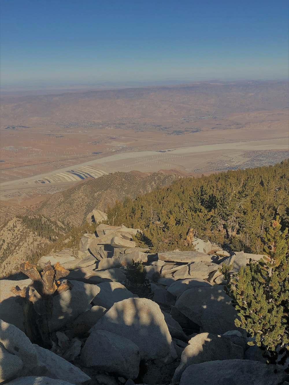 Panoramic views of Coachella Valley from the San Jacinto summit trail