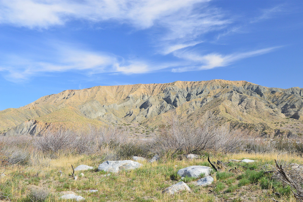 Canyon walls towering over the Whitewater River in the Whitewater Preserve