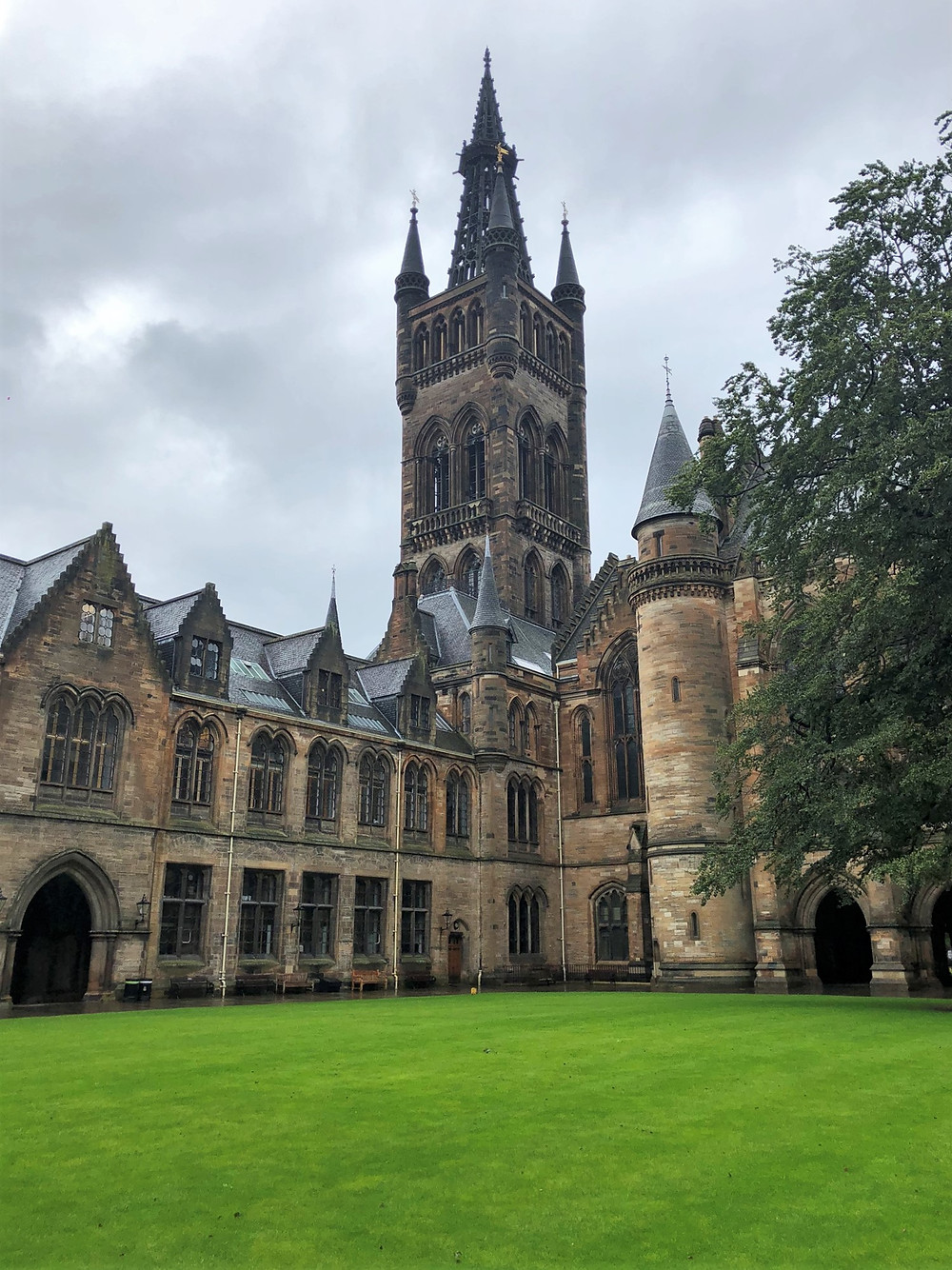 The signature Gothic bell tower rises 279 ft above the campus of the University of Glasgow
