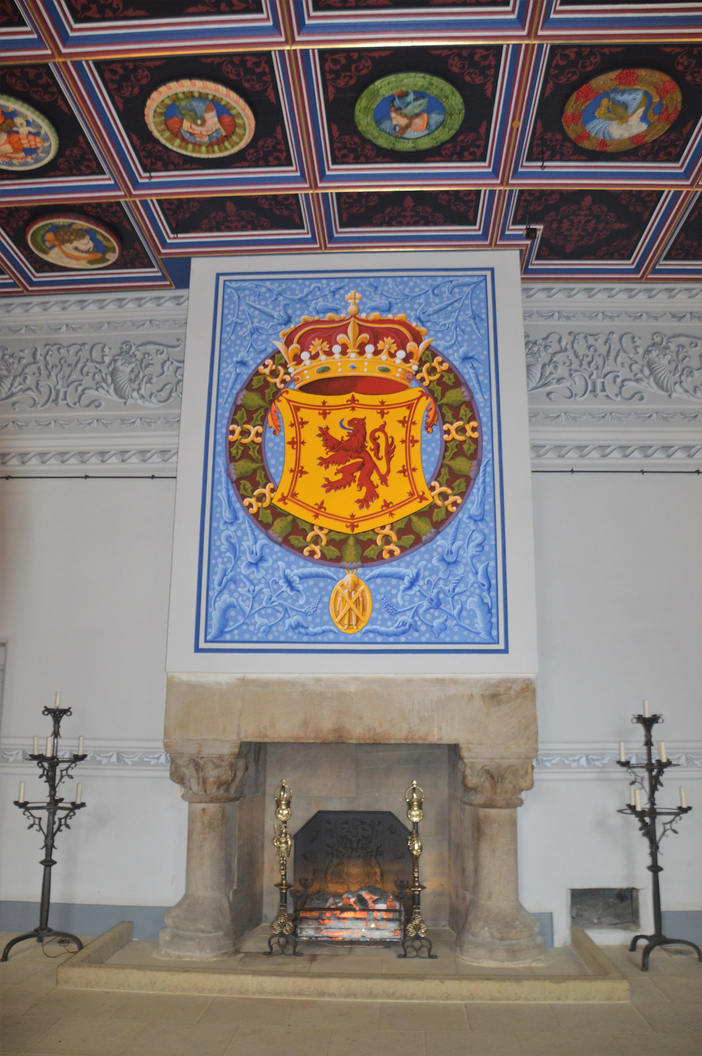 Hanging over the fireplace in the King's Inner Hall of Stirling Castle is the Royal Arms of Scotland with the Rampant Lion