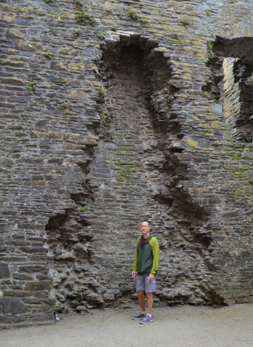 Outline of huge fireplace in the Royal Apartments of Conwy Castle Inner Ward