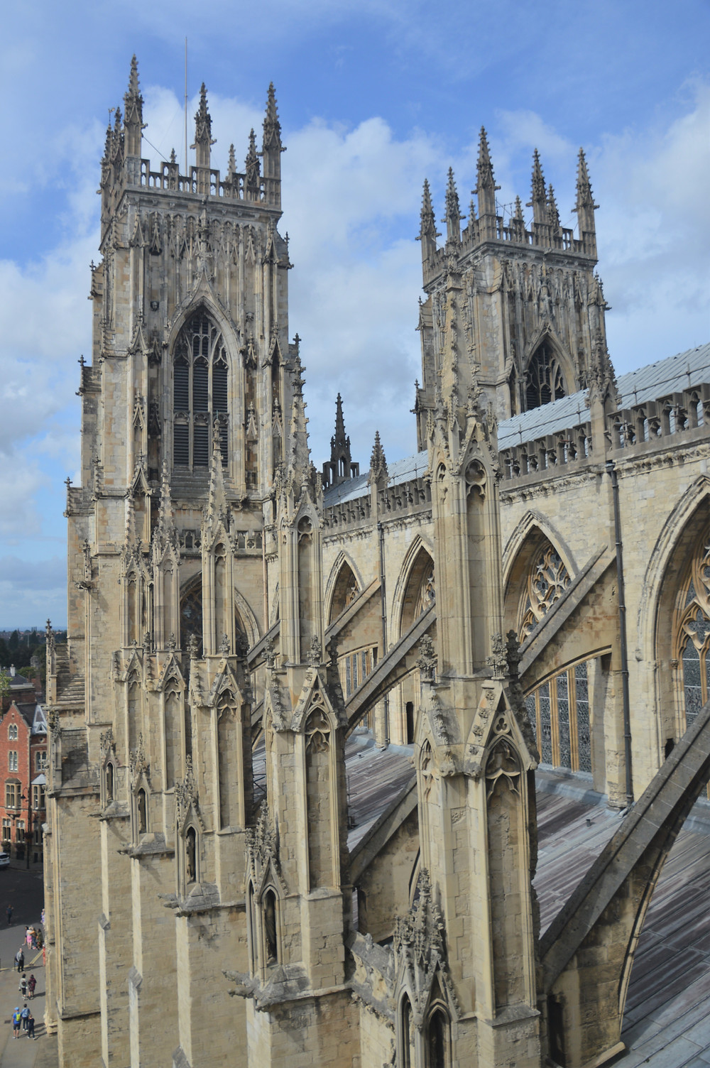West Towers of York Minster from the roof of the South Transept. Intricate stonework of the West Towers of York Minster