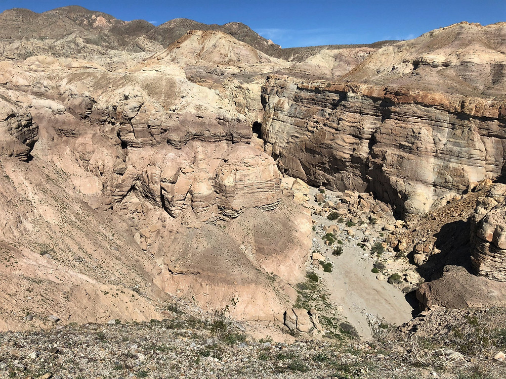 Towering walls of the Palm Wash on the Calcite Mine Loop at Anza-Borrego State Park